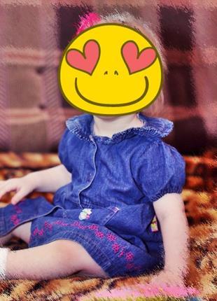 Классное джинсовое платье с вышивкой для малышки