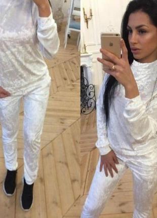 Ультрамодный спортивный женский костюм мраморный велюр муар белый