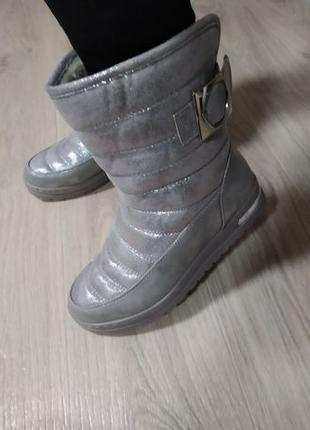 Распродажа!! Сапоги зимние дутики женские серебро р41 Новые