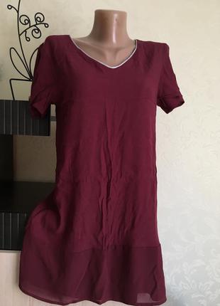 Красивое короткое платье vila размер с цвет марсала