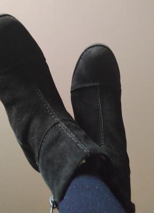 Ботинки, полусапожки демисезонные, rieker 38 р  замша, шерсть