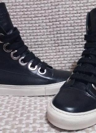 Raf simons кожаные высокие кроссовки