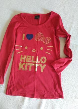 Реглан. красный. xello kitty. 11-15 лет. турция. хлопок 100%.