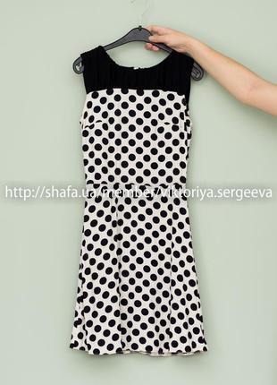 Большой выбор платьев - легкое вискозное платье миди в горох н...