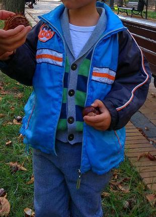 Куртка. ветровка. плащевка + флис 98-104 см