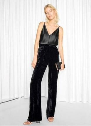 🌹🌹🌹стильные женские черные велюровые, бархатные брюки, штаны p...