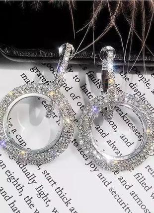 Нарядные серьги-кольца со стразами серебро