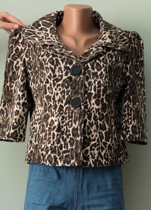 Стильный женственный жакет в животный принт леопарда