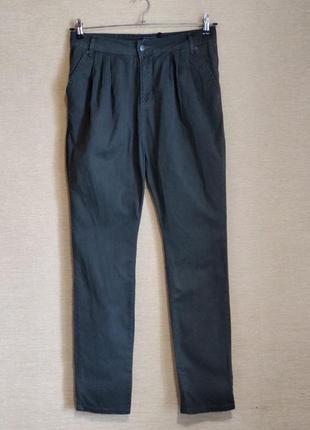 Брюки штаны чинос с складками и карманами высокая посадка