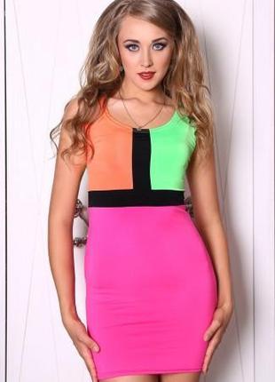 Летнее платье - футляр облегающее, платье яркое цветное