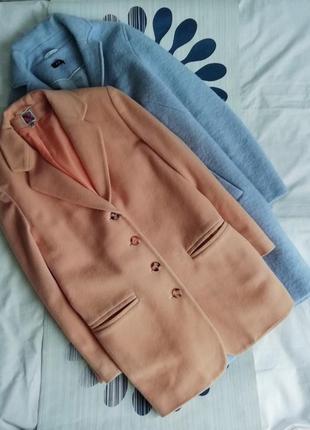 Бежевое пальто шерстяное бежевый жакет шерстяной удлиненный пи...