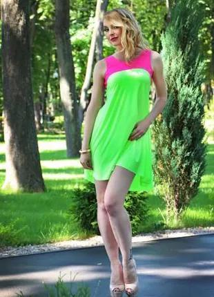 Платье летнее свободного покроя салатовое, платье повседневное