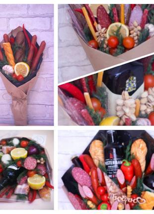 Вкусные букеты. Съедобные  букеты. Масные, овощные ,фруктовые...
