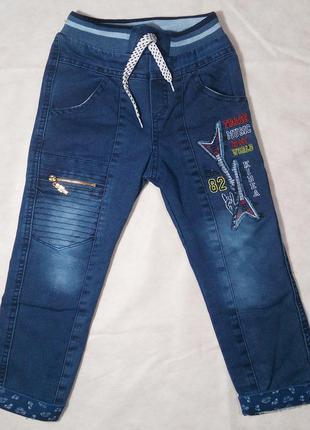 Зимние джинсы на мальчика 62см