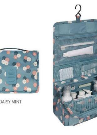 Подвесная дорожная сумка-органайзер для косметики в цветочек