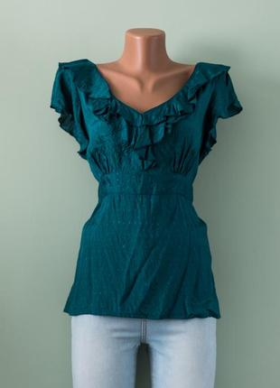 Большой выбор блуз - красивая вискозная зеленая блуза с рюшами