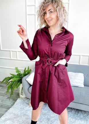 Бордовое платье-рубашка оверсайз
