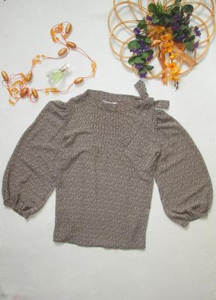 Красивая нарядная шифоновая блуза в растительный принт с завяз...