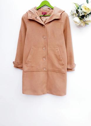 Шерстяное пальто с капюшоном стильное пальто с карманами