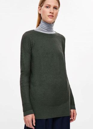 Шерстяная туника кофта пуловер cos зеленого цвета.