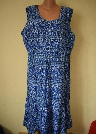 Натуральное летнее платье с принтом большого размера