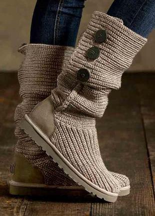 Ugg classic cardiy boot. оригинал. вязаные, теплые угги серо-к...