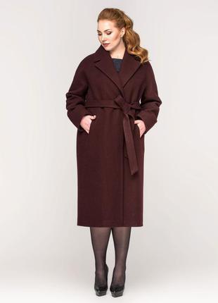 Шикарное женское длинное демисезонное винное бордовое пальто с...