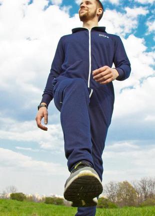 Синий спортивный комбинезон для фитнеса и йоги s, m, l