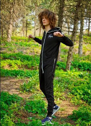 Чёрный спортивный комбинезон для фитнеса и йоги s, m, l
