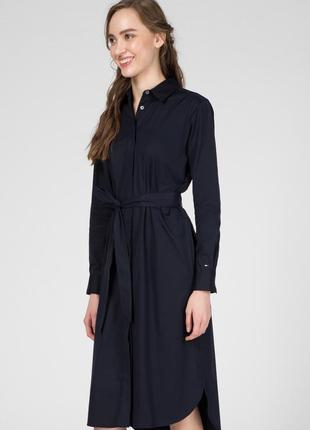 Платье-рубашка с поясом tommy hilfiger синего цвета