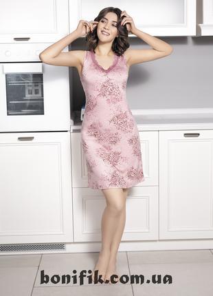 """Женская домашняя приталенная сорочка """"Rose Garden"""" арт. 617"""
