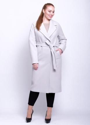 Шикарное женское длинное демисезонное серое пальто с поясом