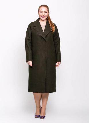 Шикарное женское длинное демисезонное пальто с поясом цвет хаки