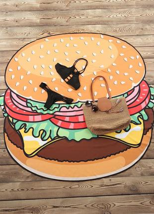 Покрывало пляжное гамбургер подстилка 3351