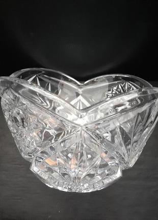"""Ваза """"льдинка"""" ссср 70-е конфетница резная хрустальная вазочка..."""