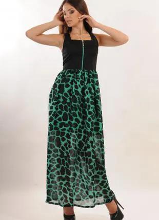 Платье летнее длинное в пол, платье леопардовое, платье шифоновое