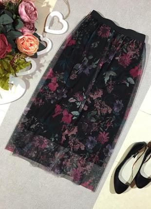 Шикарная юбка сетка в цветочный принт.