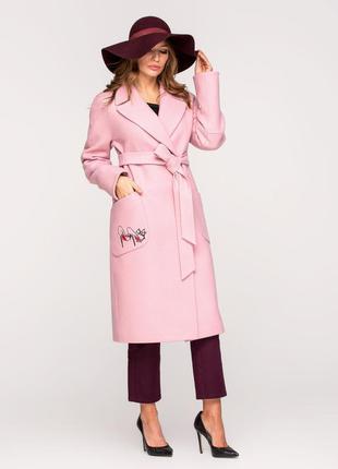 Скидка! шикарное женское длинное розовое весеннее пальто с выш...