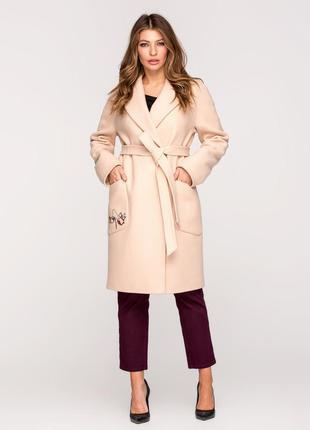 Скидка! шикарное женское длинное бежевое весеннее пальто с выш...