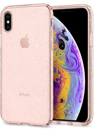 Чехол Spigen Liquid Crystal Glitter для iPhone XS/X  Rose Quartz