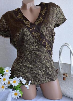 Брендовая блуза monsoon шелк паетки принт вышивка цветы этикетка