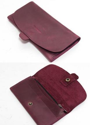 Кожаный кошелек клатч из натуральной винтажной кожи бордовый