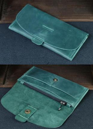 Кожаный кошелек клатч из натуральной винтажной кожи зеленый