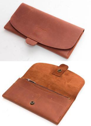 Кожаный кошелек клатч из натуральной винтажной кожи цвета коньяк