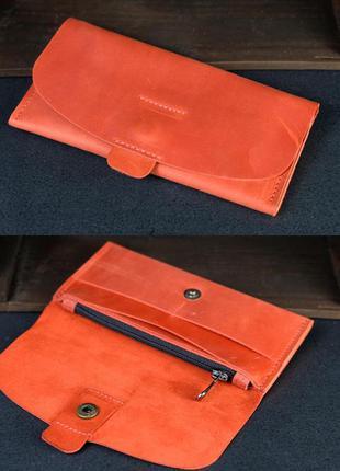 Кожаный кошелек клатч из натуральной винтажной кожи красный
