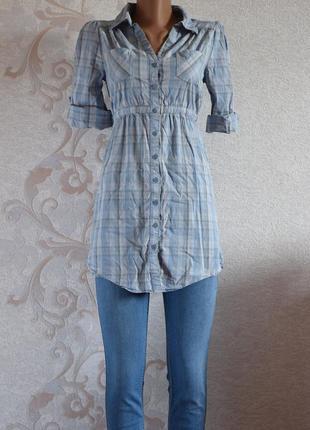 Большой выбор блуз - удлиненная рубашка в клетку голубого цвет...