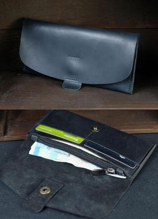 Кожаный кошелек клатч из натуральной винтажной кожи черный