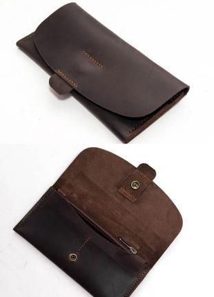 Кожаный кошелек клатч из натуральной винтажной кожи шоколадног...