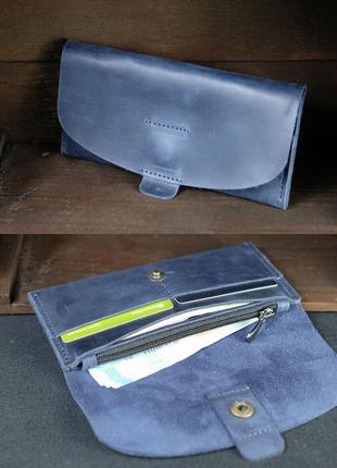Кожаный кошелек клатч из натуральной винтажной кожи синий