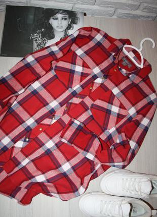 Стильная хлопковая рубашка в клетку